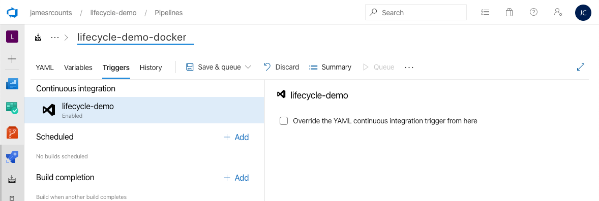 Azure DevOps triggers view. The pipeline name field shows the updated name