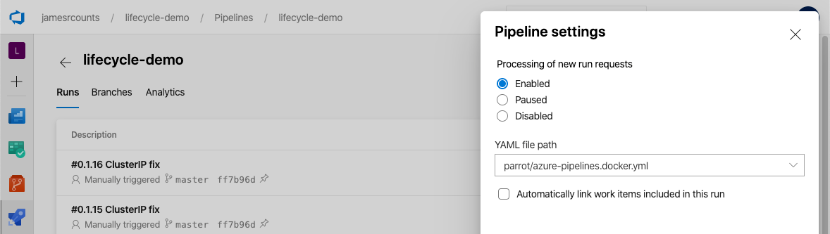Azure DevOps settings dialog. The YAML file path shows the updated name